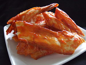 Vegetable chips - Cassava chips in chili sauce in Bandar Lampung, Indonesia