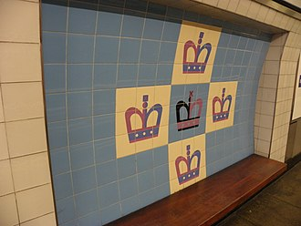 King's Cross St. Pancras tube station - Tiled motif on the Victoria line platforms