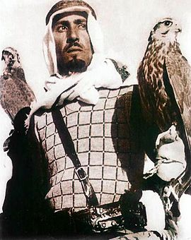 King Abdullah practising falconry, a traditional pursuit in the country King Abdullah in his youth.jpg