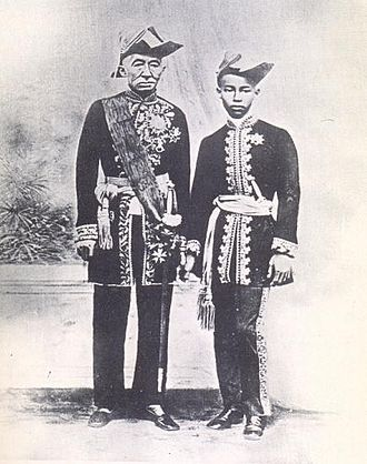 Chulalongkorn - King Mongkut with Prince Chulalongkorn, both in naval uniforms