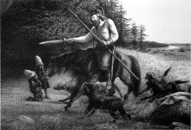 """Svafrlami """"negociando"""" con Dyrin y Dvalin"""