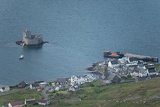 Castlebay main village and a community council area on the island of Barra, Scotland