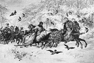 The Deluge (novel) - Kmita and Olenka enjoy sleighing together
