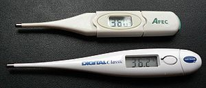 Medical tricorder - The conception of a medical tricorder will be a general purpose scanner with many functions, including that of measuring temperatures like these digital thermometers.