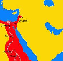 aire colorée encadrant le cours du Nil jusqu'à la hauteur du sud de la péninsule arabique avec une extension le long de la côte nord-ouest de cette même péninsule, englobant Jerusalem et Tyr