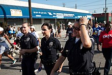 lapd officers during a march