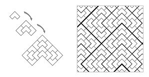 Aperiodic tiling - The chair substitution tiling system.