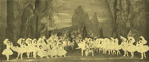 La Bayadère - Marius Petipa's final revival of La Bayadère, with the stage of the Mariinsky Theatre shown in the scene The Kingdom of the Shades. In the center is Mathilde Kschessinskaya as Nikiya, Pavel Gerdt as Solor and the Corps de ballet. The three soloist shades are seen kneeling to the left: Varvara Rhykhliakova, Agrippina Vaganova and Anna Pavlova performed the shade's variations. St. Petersburg, 1900.