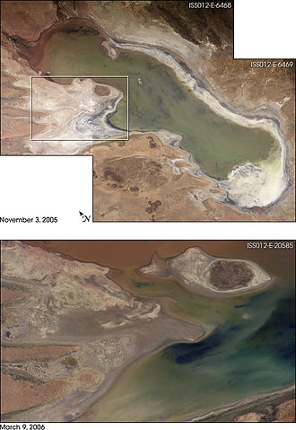 Lake Poopó - The top photo shows the lake with low water levels, exposing large tracts of salt and mud flats. Rainfall afterwards resulted in flooding of Poopó with muddy waters from the Desaguadero River. The lower photo shows the extent of flooding of the western salt flats, sufficient to create an ephemeral island – as shown by the rectangle.