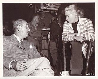 Edwin H. Knopf - Edwin H. Knopf with Lana Turner on the set of Diane (1956)