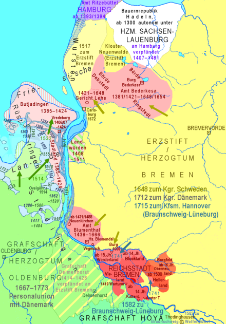 14th to 18th century: territories of the Free City of Bremen (red) and of the Archbishopric of Bremen (yellow); straits between lower Weser and Jadebusen Landgebiete der Freien Stadt Bremen.png
