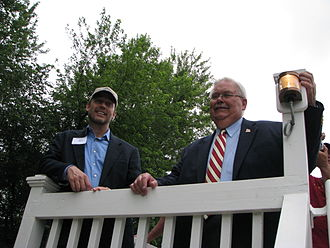 The Volunteer (canal boat) - Then-Congressman Jerry Weller (left) and former LaSalle Mayor Art Washkowiak on the upper deck of The Volunteer.