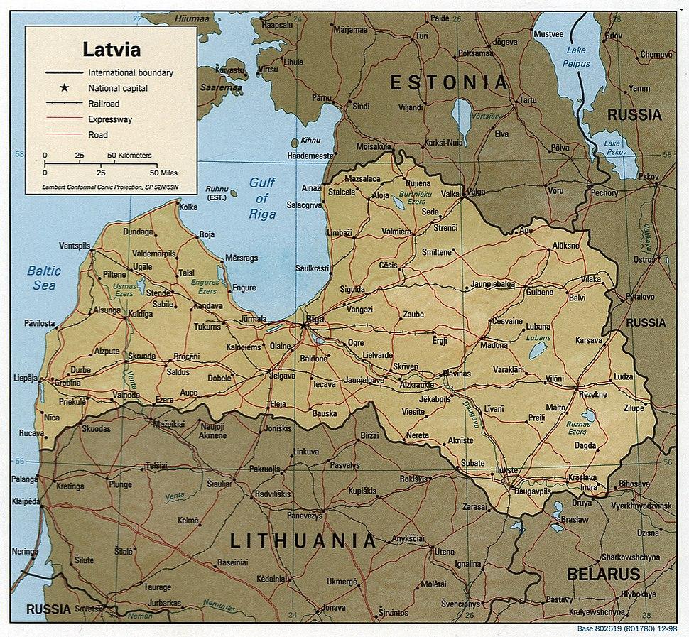Latvia 1998 CIA map