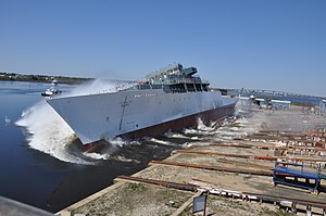 Launch of USNS Maury (T-AGS-66) at Halter Marine on 37 March 2013 (130327-N-ZZ999-003)