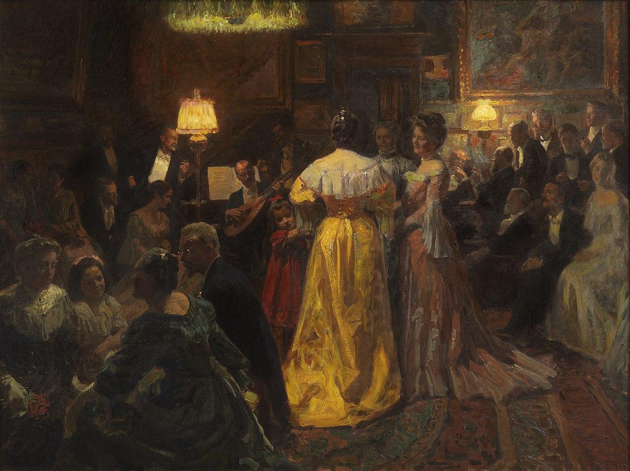 Laurits Tuxen, Aftenselskab i atelieret pе Strandvejen, 1905, Skagens Kunstmuseer.jpg