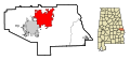 Lee County Alabama Incorporated and Unincorporated areas Opelika Highlighted.svg