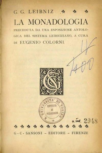 File:Leibniz - La monadologia, Sansoni, Firenze, 1935.djvu