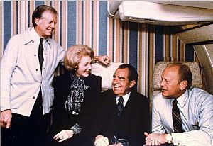 Leonore Annenberg - Annenberg with former Presidents Nixon, Ford, and Carter during a flight to the funeral of Anwar Sadat, October 1981