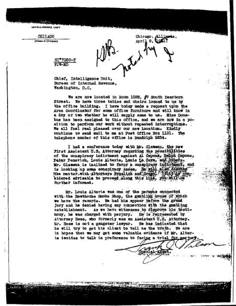 File:Letter from Frank Wilson updating the Capone investigation, April 8, 1931.djvu