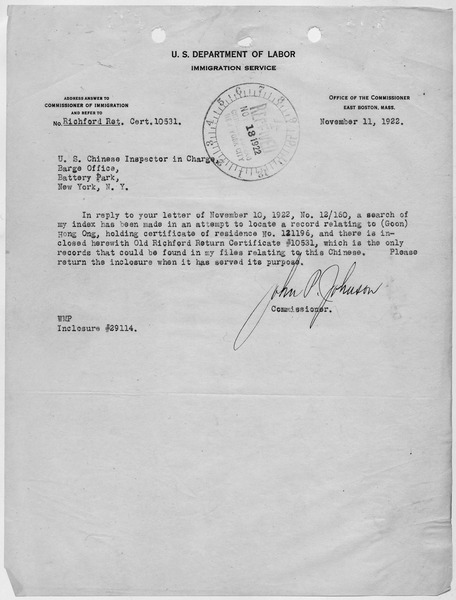 File:Letter from the Commissioner of the Immigration Service in Boston informing the New York Chinese Inspector in Charge... - NARA - 278564.tif