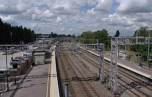 Lichfield Trent Valley railway station - Northward view of the low-level platforms.