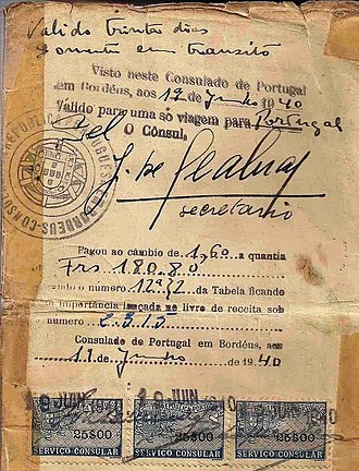 Aristides de Sousa Mendes - Life saving visa issued by Dr. Aristides de Sousa Mendes on June 19, 1940, bearing the signature of his secretary José Seabra.