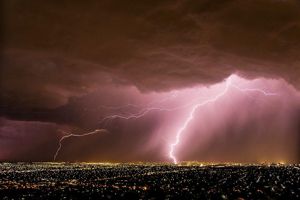 Lightning in Adelaide, South Australia, 2014