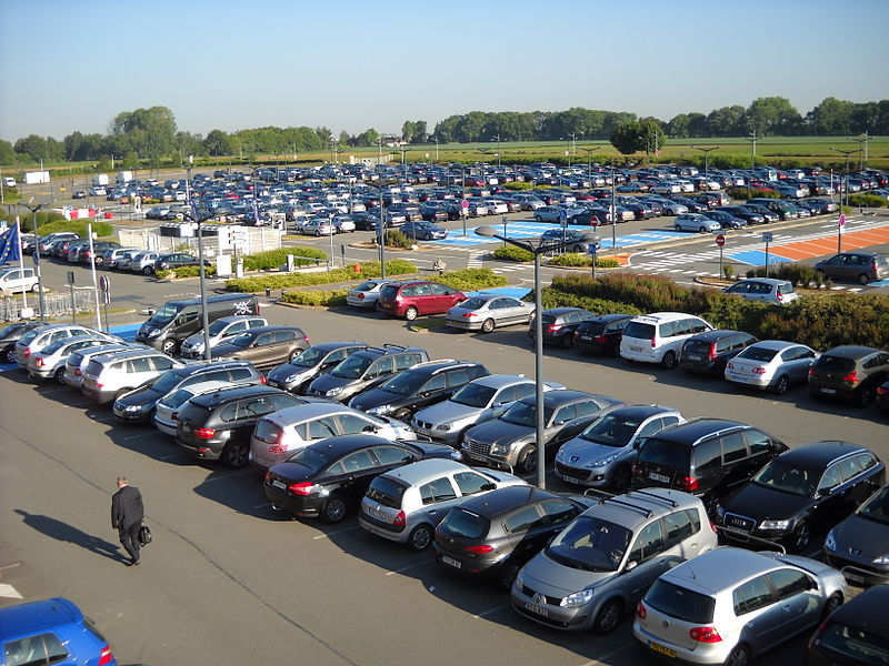 The car park of the Lille-Lesquin International Airport, in Lesquin, Nord, France.