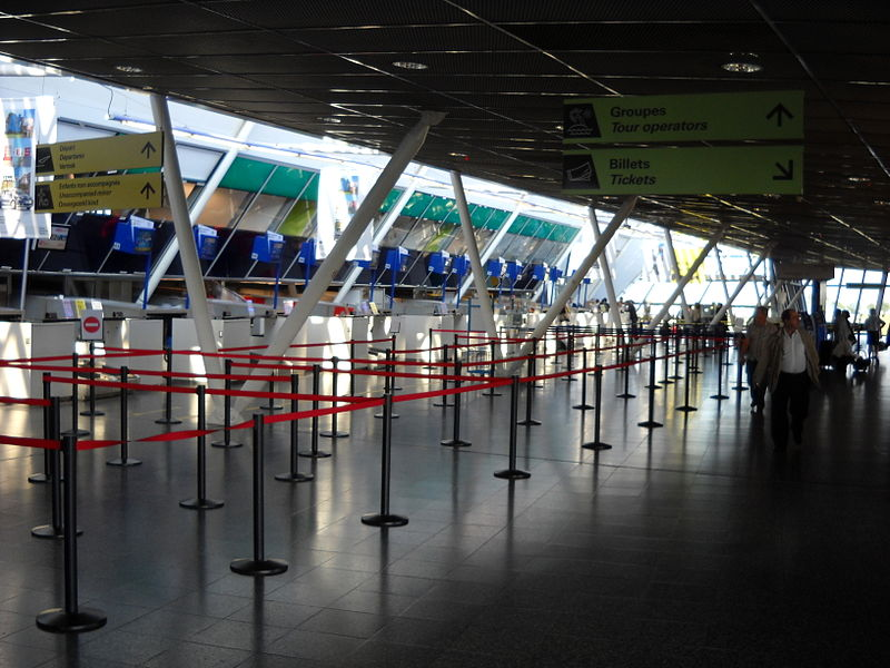 Inside the terminal of the Lille-Lesquin International Airport, in Lesquin, Nord, France.