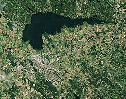 Linköping with Lake Roxen from space