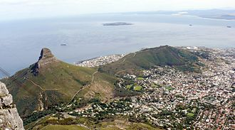 Lion's Head (Cape Town) - Lion's Head and Signal Hill from the Summit of Table Mountain, with Robben Island in Table Bay