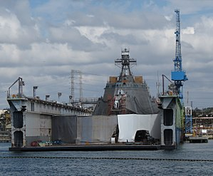 Dry dock - A US Navy littoral combat ship in drydock, NASSCO 2012