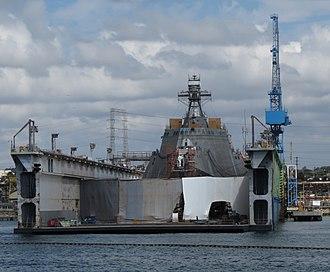 Dry dock - A US Navy littoral combat ship in drydock, NASSCO 2012