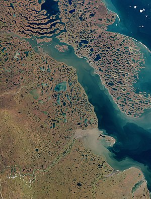 Tuktoyaktuk - Satellite image of Liverpool Bay, the Husky Lakes, and the Tuktoyaktuk Peninsula.