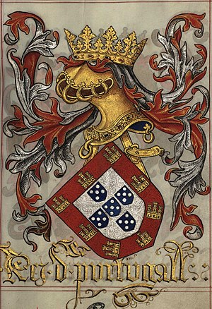 Portuguese heraldry - Coat of arms of King Manuel I of Portugal, in the Livro do Armeiro-Mor, 1509