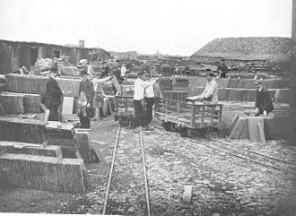 Slate industry in Wales - Quarries which had their own rail link to a port had a great advantage. Here the finished slates are being loaded into slate waggons at the Penrhyn Quarry c. 1913.
