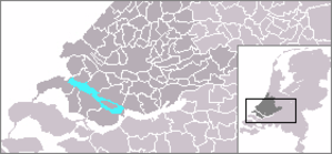 Haringvliet -  Location of the Haringvliet within South Holland and the Netherlands.