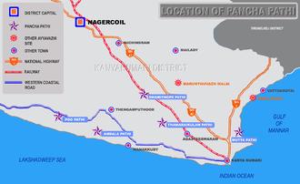 Pancha pathi - Map showing the location of Pancha Pathi in Kanyakumari district