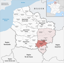 Location of Soissons in Hauts-de-France