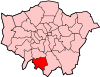 Location of the London Borough of Sutton in Greater London