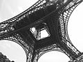 Looking up the center of the Eiffel Tower, Paris 12 September 2015.jpg
