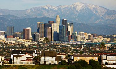 Downtown Los Angeles and the San Gabriel Mountains
