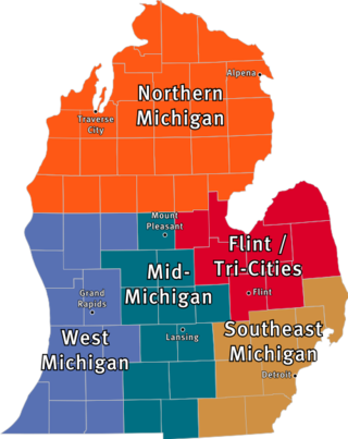 Map of Lower Peninsula with showing the definition of The Thumb.