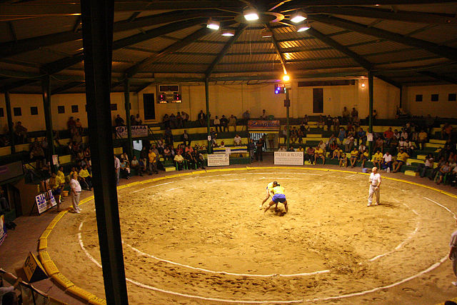The sport of Lucha Canaria in the Canary Islands involves two wrestlers in a sand ring. Photo by Lexthoonen.
