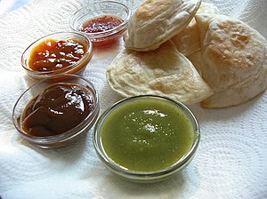 """Samosas"" and four different sauces:..."