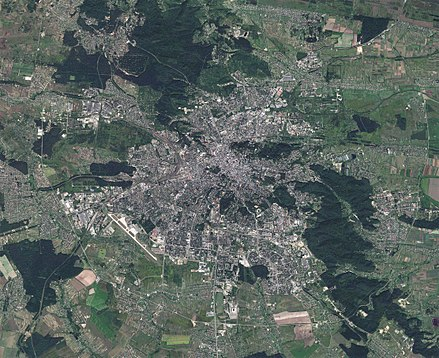 Lviv satellite view (Sentinel-2, 14 August 2017) Lviv City, Ukraine, Sentinel-2 satellite image, 30-AUG-2017.jpg