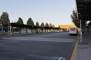 Lynnwood Transit Center - Looking north at the A and B bays