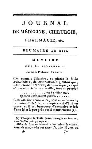 Tarrare - Baron Percy's original paper on Tarrare's medical history, Mémoire sur la polyphagie (1805)