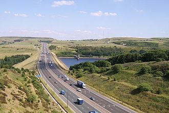 M62 motorway - M62 passes Scammonden Water in West Yorkshire