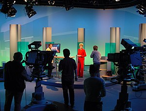 Television program - A live TV show set and cameras